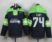 Wholesale Cheap Nike Seahawks #74 George Fant Navy Blue Player Pullover NFL Hoodie