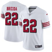 Wholesale Cheap Nike 49ers #22 Matt Breida White Rush Youth Stitched NFL Vapor Untouchable Limited Jersey