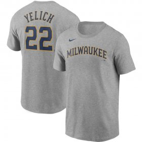Wholesale Cheap Milwaukee Brewers #22 Christian Yelich Nike Name & Number T-Shirt Gray