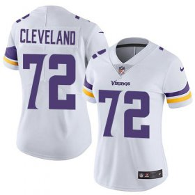 Wholesale Cheap Nike Vikings #72 Ezra Cleveland White Women\'s Stitched NFL Vapor Untouchable Limited Jersey