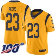 Wholesale Cheap Nike Rams #23 Cam Akers Gold Youth Stitched NFL Limited Rush 100th Season Jersey