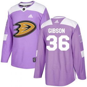 Wholesale Cheap Adidas Ducks #36 John Gibson Purple Authentic Fights Cancer Youth Stitched NHL Jersey