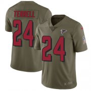 Wholesale Cheap Nike Falcons #24 A.J. Terrell Olive Youth Stitched NFL Limited 2017 Salute To Service Jersey