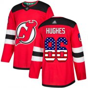 Wholesale Cheap Adidas Devils #86 Jack Hughes Red Home Authentic USA Flag Stitched NHL Jersey