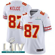 Wholesale Cheap Nike Chiefs #87 Travis Kelce White Super Bowl LIV 2020 Men's Stitched NFL Limited Team Logo Fashion Jersey