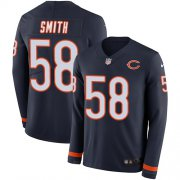 Wholesale Cheap Nike Bears #58 Roquan Smith Navy Blue Team Color Men's Stitched NFL Limited Therma Long Sleeve Jersey