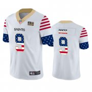 Wholesale Cheap New Orleans Saints #9 Drew Brees White Men's Nike Team Logo USA Flag Vapor Untouchable Limited NFL Jersey