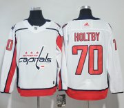 Wholesale Cheap Adidas Capitals #70 Braden Holtby White Road Authentic Stitched NHL Jersey