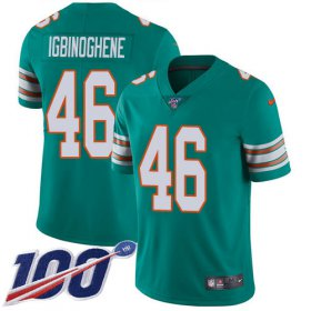 Wholesale Cheap Nike Dolphins #46 Noah Igbinoghene Aqua Green Alternate Men\'s Stitched NFL 100th Season Vapor Untouchable Limited Jersey