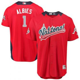 Wholesale Cheap Braves #1 Ozzie Albies Red 2018 All-Star National League Stitched MLB Jersey