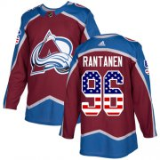 Wholesale Cheap Adidas Avalanche #96 Mikko Rantanen Burgundy Home Authentic USA Flag Stitched NHL Jersey