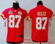 Wholesale Cheap Youth Kansas City Chiefs #87 Travis Kelce Red 2021 Super Bowl LV Vapor Untouchable Stitched Nike Limited NFL Jersey