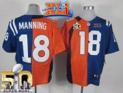 Wholesale Cheap Nike Colts #18 Peyton Manning Orange/Royal Blue Super Bowl XLI & Super Bowl 50 Men's Stitched NFL Elite Split Broncos Jersey
