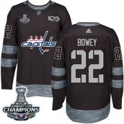 Wholesale Cheap Adidas Capitals #22 Madison Bowey Black 1917-2017 100th Anniversary Stanley Cup Final Champions Stitched NHL Jersey