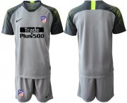 Wholesale Cheap Atletico Madrid Blank Grey Goalkeeper Soccer Club Jersey