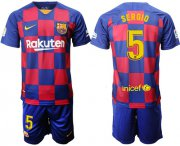 Wholesale Cheap Barcelona #5 Sergio Home Soccer Club Jersey