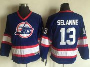 Wholesale Cheap Jets #13 Teemu Selanne Light Blue CCM Throwback Stitched Youth NHL Jersey