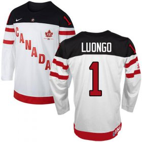 Wholesale Cheap Olympic CA. #1 Roberto Luongo White 100th Anniversary Stitched NHL Jersey