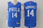 Wholesale Cheap Men's Philadelphia 76ers #14 Sergio Rodriguez NEW Blue Stitched NBA adidas Revolution 30 Swingman Jersey