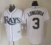 Wholesale Cheap Rays #3 Evan Longoria White New Cool Base Stitched MLB Jersey