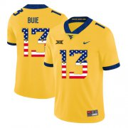 Wholesale Cheap West Virginia Mountaineers 13 Andrew Buie Yellow USA Flag College Football Jersey