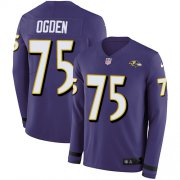 Wholesale Cheap Nike Ravens #75 Jonathan Ogden Purple Team Color Men's Stitched NFL Limited Therma Long Sleeve Jersey