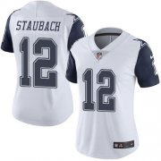 Wholesale Cheap Nike Cowboys #12 Roger Staubach White Women's Stitched NFL Limited Rush Jersey