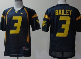 Wholesale Cheap West Virginia Mountaineers #3 Stedman Bailey Navy Blue Jersey