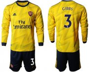 Wholesale Cheap Arsenal #3 Gibbs Away Long Sleeves Soccer Club Jersey
