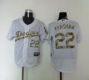 Wholesale Cheap Dodgers #22 Clayton Kershaw White USMC Cool Base Stitched MLB Jersey