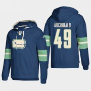 Wholesale Cheap Vancouver Canucks #49 Darren Archibald Blue adidas Lace-Up Pullover Hoodie