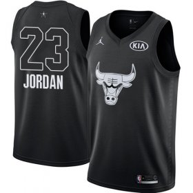 Wholesale Cheap Nike Bulls #23 Michael Jordan Black NBA Jordan Swingman 2018 All-Star Game Jersey