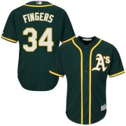 Wholesale Cheap Athletics #34 Rollie Fingers Green Cool Base Stitched Youth MLB Jersey