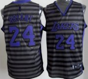 Wholesale Cheap Los Angeles Lakers #24 Kobe Bryant Gray With Black Pinstripe Jersey