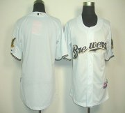 Wholesale Cheap Brewers Blank White Cool Base Stitched MLB Jersey