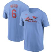 Wholesale Cheap St. Louis Cardinals #6 Stan Musial Nike Cooperstown Collection Name & Number T-Shirt Light Blue