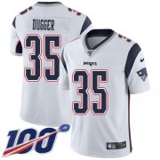 Wholesale Cheap Nike Patriots #35 Kyle Dugger White Youth Stitched NFL 100th Season Vapor Untouchable Limited Jersey