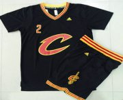 Wholesale Cheap Men's Cleveland Cavaliers #2 Kyrie Irving Revolution 30 Swingman 2015-16 New Black Short-Sleeved Jersey(With-Shorts)