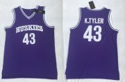Wholesale Cheap Huskies The 6th Marlon Wayans 43 Kenny Tyler Purple Stitched Movie Basketball Jersey