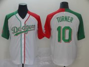 Wholesale Cheap Dodgers #10 Justin Turner White Red/Green Split Cool Base Stitched MLB Jersey