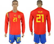 Wholesale Cheap Spain #21 Silva Red Home Long Sleeves Soccer Country Jersey