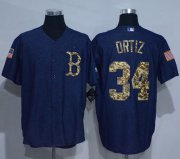 Wholesale Cheap Red Sox #34 David Ortiz Denim Blue Salute to Service Stitched MLB Jersey