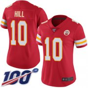 Wholesale Cheap Nike Chiefs #10 Tyreek Hill Red Team Color Women's Stitched NFL 100th Season Vapor Limited Jersey