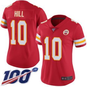 Wholesale Cheap Nike Chiefs #10 Tyreek Hill Red Team Color Women\'s Stitched NFL 100th Season Vapor Limited Jersey