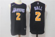 Wholesale Cheap Men's 2017 Draft Los Angeles Lakers #2 Lonzo Ball Black 2017-2018 Nike Swingman Stitched NBA Jersey