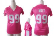 Wholesale Cheap Nike Texans #99 J.J. Watt Pink Draft Him Name & Number Top Women's Stitched NFL Elite Jersey
