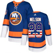 Wholesale Cheap Adidas Islanders #29 Brock Nelson Royal Blue Home Authentic USA Flag Stitched NHL Jersey