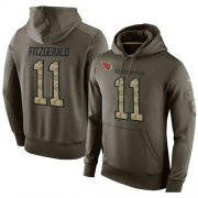 Wholesale Cheap NFL Men's Nike Arizona Cardinals #11 Larry Fitzgerald Stitched Green Olive Salute To Service KO Performance Hoodie