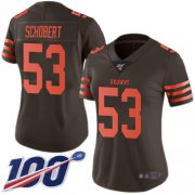 Wholesale Cheap Nike Browns #53 Joe Schobert Brown Women's Stitched NFL Limited Rush 100th Season Jersey