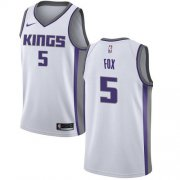Wholesale Cheap Women's Sacramento Kings #5 De'Aaron Fox White Basketball Swingman Association Edition Jersey